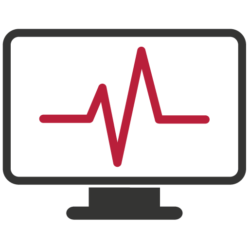 Heart rate on a monitor icon